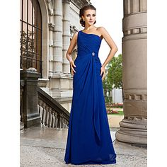 A-line One Shoulder Sweep/Brush Train Chiffon Evening Dress – USD $ 149.99