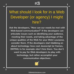 What should I look for in a Web developer (or agency) I might hire?  #WebDeveloper #Hire #Agency #Communication #Quality #Web #Developer #Technology