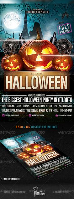 Halloween Party Flyer Template by saltshaker911   GraphicRiver Halloween Party Flyer, Halloween Poster, Halloween Halloween, Evil Pumpkin, Orange Party, Event Flyers, Party Poster, Club, Holidays And Events