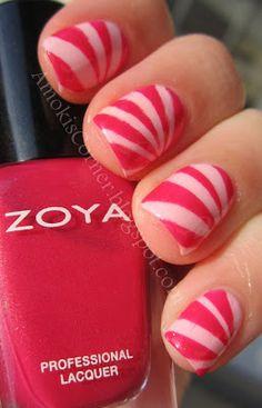 nail art designs, nail arts, candi cane, beauti nail, candy canes, cane nail, starburst nail, dot, christma