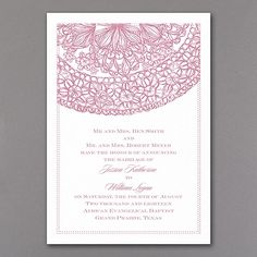 Lacy Accent - Invitation. Available at Persnickety Invitation Studio.