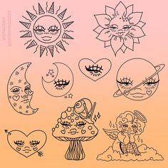 Indie Drawings, Psychedelic Drawings, Cool Art Drawings, Art Drawings Sketches, Tattoo Sketches, Kritzelei Tattoo, Arte Grunge, Hippie Painting, Hippie Drawing