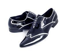 Black Men's Designer Shoes with White Pin Stripe