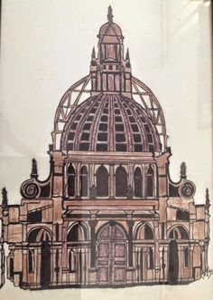 """Mariangela Tiziana Borghi Art""  ""Duomo""  china su lucido (24x38) ""Cathedral"" ink on glossy"