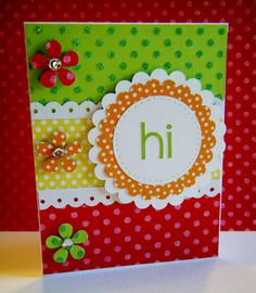love the bright colors and all the scallops;  handmade card