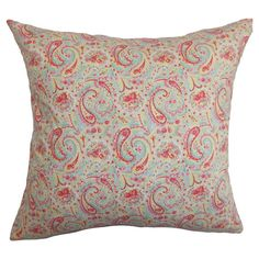 Cotton throw pillow with a paisley motif.  Product: PillowConstruction Material: Cotton cover and 95/5 down fill...