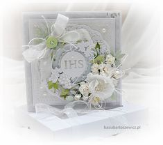 www.basiabartoszewicz.pl Exploding Boxes, First Holy Communion, Explosion Box, Cute Cards, Holi, Cardmaking, Decorative Boxes, Scrapbooking, Couture