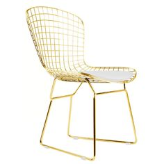 Wire Side Chair Golden Wireback Mid Century Modern Mesh Dining Chair in Gold