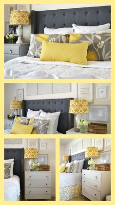New bedroom yellow grey white bedspreads ideas Yellow Gray Bedroom, White Bedroom, Bedroom Colors, Master Bedroom, Bedroom Decor, Bedroom Ideas, Gray Yellow, Bedroom Inspiration, Black White