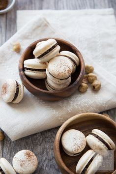 Classic French Macarons with Homemade Nutella Filling // These tasty little one-bite treats are made ever so slightly healthier with a homemade Nutella center. Crispy. Dainty. Delicious