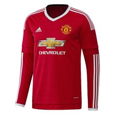 d15f1f8a7a4 Adidas Manchester United Home  15- 16 Long Sleeve Soccer Jersey (Real  Red White Black)