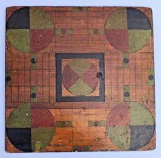 Antique c1900 Folk Art Painted Parcheesi Checker Game Board