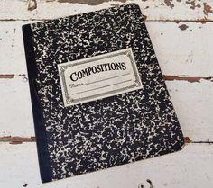 Vintage Composition Notebook School Supply by RelicsAndRhinestones, $16.00