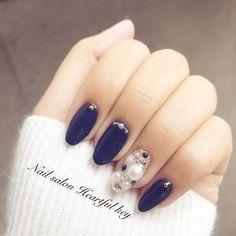 my nail ♡ #冬 #デート #クリスマス #ハンド #ロング #ネイビー #ジェルネイル #Nail salon Heartful key #ネイルブック