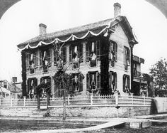 In times of mourning, homes used to be draped in black. This is Lincoln's home in Springfield, Illinois, shortly after his death.
