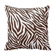 Brown and White Zebra Print Stripes Animal Print Throw Pillow Case Decor Cushion Cover 18x18 Inch Square Two Sides