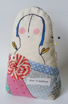 Handmade Pin Cushion Screen printed Lovely Lavinia by hensteeth, $32.00