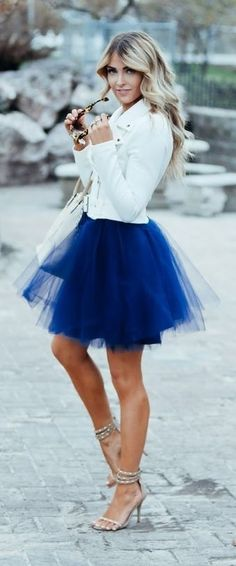 White Short Blazer, Klein Blue Tulle Skirt, Embellished Ankle Strap Sandals | Cara Loren