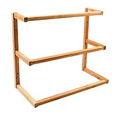 Relaxdays Wall-Mount Bamboo Towel Holder With 3 Rails, Wooden Wall Towel Rack Stand