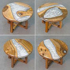 Diy Resin Wood Table, Epoxy Resin Table, Pecan Wood, Walnut Wood, Rustic End Tables, Resin Furniture, Wood Sample, Live Edge Wood, Round Coffee Table