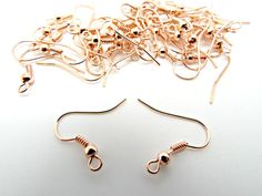 Rose Gold Ear Wires 25 Pairs Fish Hook by GlitteramaCrafts on Etsy