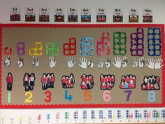 Numicon number display - include boxes at bottom for SS to add their own numbers of things Maths Eyfs, Eyfs Classroom, Kindergarten Math, Preschool Activities, Classroom Displays Eyfs, Preschool Displays, Eyfs Curriculum, Early Years Maths, Early Years Classroom