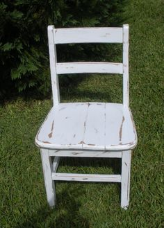 VINTAGE  Chair - Painted and Distressed Chair - 1950's Teacher's Chair -Old Chair-Wood Chair - Old School Chair on Etsy, $50.00
