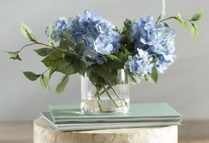 Tulip Bouquet Discover Hydrangea Floral Arrangement in Vase Blue Hydrangea Centerpieces, Wedding Table Centerpieces, Tall Centerpiece, Hydrangea Care, Hydrangea Flower, Blue Hydrangea Wedding, Hortensien Arrangements, Blue Flower Arrangements, Flower Decorations