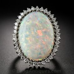Large Opal and Diamond Vintage Cocktail Ring