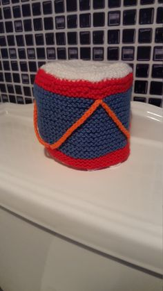 Multi-coloured Drum design Toilet roll cover/Holder by WondersOfWool on Etsy