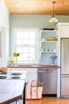 wood counter tops, farmhouse feel-open shelves