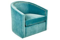 Georgia Swivel Barrel Chair, Turquoise by Kristin Drohan Swivel Glider Chair, Swivel Club Chairs, Swivel Barrel Chair, Sofa Chair, Cuddle Chair, Chair Pads, Dining Chairs, Velvet Accent Chair, Teal Accent Chair
