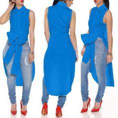 Style Casual Sleeveless Chiffon Shirt Top