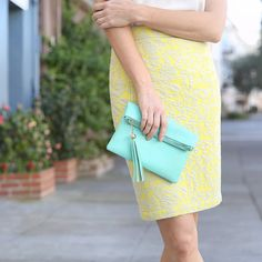 Want an instant mood-booster? Brighten your day in a sunny color combo of lemon and aqua sky.