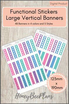 48 Functional Banners stickers in 4 colors, Pink, Blue, Green and Purple and 5 styles. This sticker kit is designed for planning in your planner. Printable downloadable file allows you to print and cut either by hand or with a cutting machine of your choice. Printable Planner Stickers, Printables, Green And Purple, Pink Blue, Print And Cut, Banners, Kit, How To Plan, Colors
