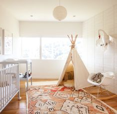 A bright and fun play space for the kiddos. The teepee is perfect for reading, sleeping and hiding out.