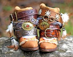 Upcycled REWORKED vintage luxury boho COWBOY by TheLookFactory, # LEATHER VINTAGE COWBOY BOOTS UPCYCLED: SLIT DOWN BACK, FOLDED OVER, AND DECORATED USING VINTAGE BELTS, TRIM, AND ACCESSORIES (PERMANENTLY ATTACHED).