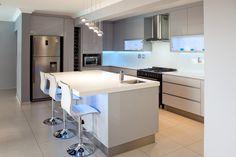162 on Sunbird - Crontech Consulting Grey Gloss Kitchen, Modern Grey Kitchen, Property Development, Design Development, Stainless Steel Balustrade, Grey Floor Tiles, Interior Architecture, Interior Design, Blue Led Lights