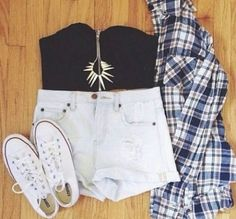 High waist shorts, cropped top, plaid shirt, and white low top converse