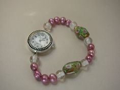 Pink Pearl and Glass Beaded Watch by KimCrutchfield on Etsy, $15.00