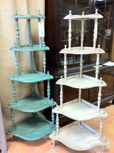 Tiered Corner Shelves... Would look great in our guest room, provided we could find some to match the furniture in that room.