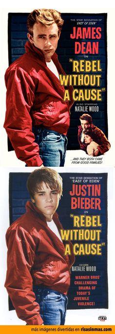 Pósters de cine famosos con Justin Bieber: Rebelde sin causa.