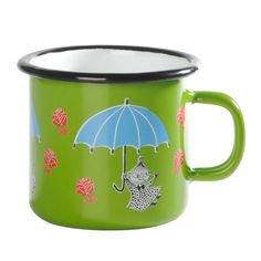 Green smaller enamel mug featuring Little My. Brighten your coffee- and teamoments with this mug. This Little My mug is perfect for children too due to its smaller size. Muurla combines design with durability in this retro Moomin enamel mug.