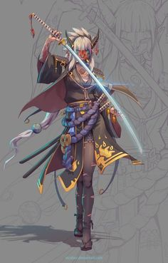Female Character Design, Character Design Inspiration, Character Concept, Character Art, Character Types, Oni Samurai, Samurai Anime, Female Samurai Art, Fantasy Warrior