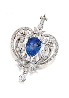 Marcus & Co. | Platinum-Topped Gold, Sapphire and Diamond Pendant-Brooch -  circa 1900.