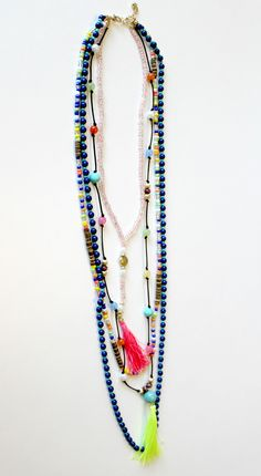 Tassel Party Necklace - Neon Yellow/Pink