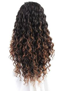 Long Black Brown Mixed Curly Synthetic Lace Front Wig - All For Colors Hair Ombre Curly Hair, Brown Curly Hair, Colored Curly Hair, Curly Hair Care, Long Curly Hair, Curly Hair Styles, Natural Hair Styles, Curly Hair Tips, Natural Curls