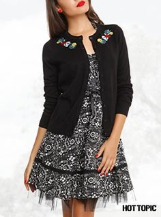 The Book Of Life Black Sugar Skull Embroidered Button Cardigan
