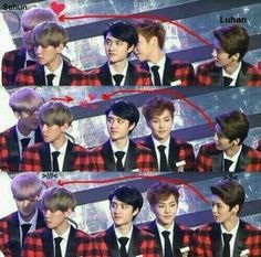 Luhan Was Looking At Sehun And Sehun Got Noticed That Luhan Is Looking At Him And He Feel Shy And Smile Cutely  Sweet ...