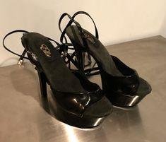 c88f15ad716b Black Pleaser Ellie - Sz 8 Stripper Exotic Dancer Platform Lace-Up Heels  Shoes